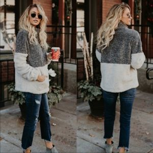 Sweaters - LAST ONE!! Grey Fuzzy Two Toned Zip Up Fleece